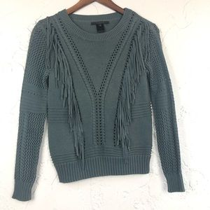 Scoop NYC Green Fringe Knitted Sweater S